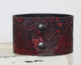Metallic Leather Cuff Bracelet Snakeskin Print Genuine Leather Red and Black Leather Cuff