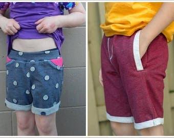 Jogger Shorts pattern & tutorial - nb-12yr - Girl or Boy - By LittleKiwisCloset