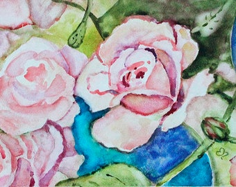 Original Rose Painting, Watercolor Flower Painting, Gift for mom, bathroom wall art, Watercolor Roses