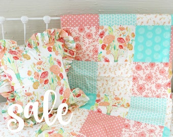 Custom nursery accessories for Reminisce collection, Ruffle Throw Pillow, Patchwork Blanket with Minky Dot Backing Unique Baby Girl Nursery