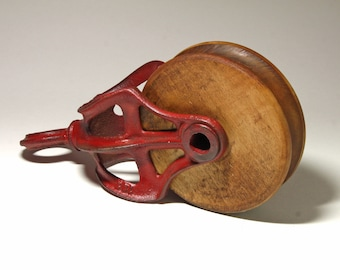 Vintage Metal Frame Red Barn Pulley - circa 1920's