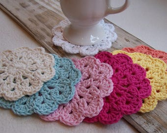 Crochet Flower Doily Coasters (set of 2)