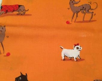 Heather Ross Lightning Bugs Orange Dogs FQ
