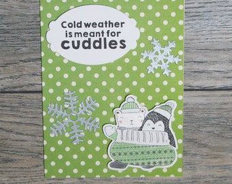 Winter is for Cuddles Green handcrafted card-CB123117-8