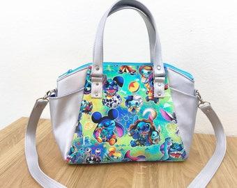 Bag - Animated Alien Silver Satchel Handbag