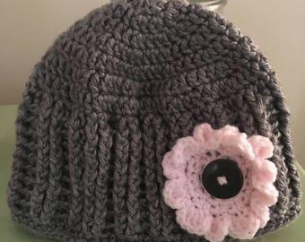 Ribbed crochet beanie