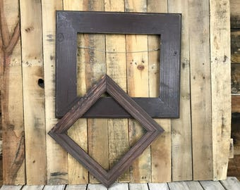 ON SALE - Espresso/Mahogony Picture Frame Set of 2 , Rustic Set, 10x10, 11x14, Photo Frame, Gallery Frame Set, Lot 242