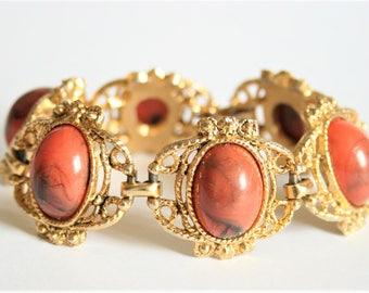 Vintage coral coloured cabochon bracelet. Panel bracelet.  Vintage jewellery