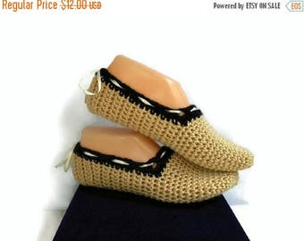 SALE Beige Crochet Slippers With Adjustable Ribbon Tie, Handmade Knitted Slippers, Socks, House Shoes, Gift for Women, Black and Tan Slipper