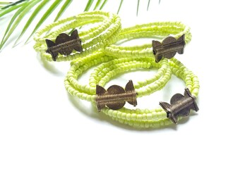 African seed bead bracelet cuff-Maasai bracelet cuff// lime green bangle set// The Zami bracelet