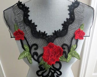 embroidered neckline applique, black,red,and green neck appligue