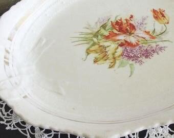 Vintage Floral Ironstone Platter