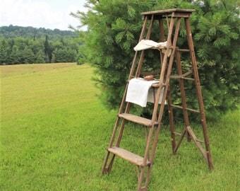 Vintage Painter's Wooden Folding Step Ladder