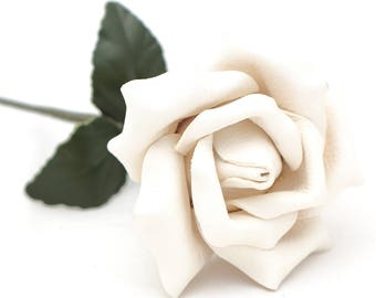 White Leather Rose third Anniversary wedding gift Long Stem leather flower Valentine's Day 3rd Leather Anniversary Mother's Day