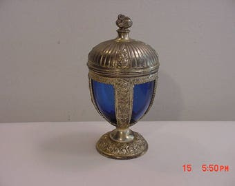 Vintage Made In Occupied Japan Metal & Blue Glass Decorative Container  17 - 973