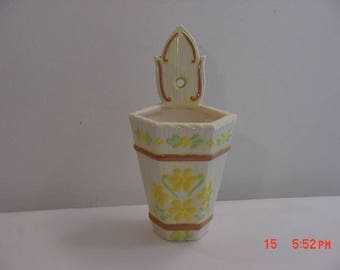 Vintage Wall Pocket With Yellow Flower Design  17 - 974