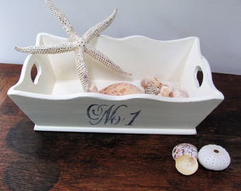 Wood Caddy Tray, Antique White Painted and Stenciled Wooden Tote