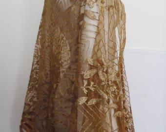 Antique Vintage Metallic Gold & Tulle Shawl Scarf Stunning