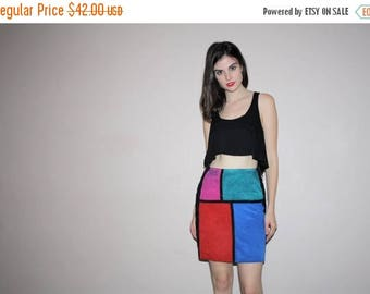 FLASH SALE - vetements Colorblock Mondrian Graphic Rainbow Hip Hop Rainbow Abstract Suede Mini Short  Skirt  - W00546