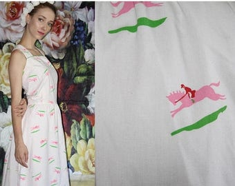 FLASH SALE - 60s Vintage Pastel Novelty Horse Jockey Equestrian Print Mod Cotton Day Dress - 60s Novelty Dresses - 60s Clothing - WV0575