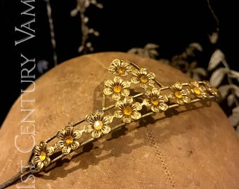 Beautiful 1920s Diamanté Tiara. Yellow Stone Flowers Headpiece. Jazz Age. Flapper. Art Deco.