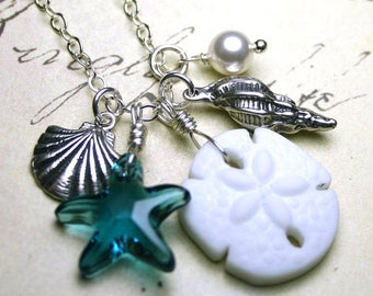 ON SALE Sand Dollar Charm Necklace - Sea Glass Sand Dollar With Swarovski Crystal Starfish ,Pearl, And Sea Shells Necklace - Sterling Silver