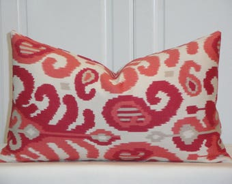DOUBLE SIDED - Duralee IKAT Decorative Pillow Cover - Throw Pillow - Accent Pillow - Toss Pillow - Coral - Berry Red - Only One Available