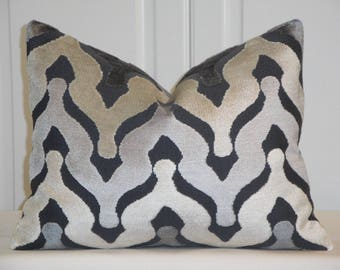 CUT VELVET - 12 x 16 Decorative Pillow Cover - Zig Zag Velvet - Chevron Velvet -  Ikat Velvet Pillow - Gray - Beige