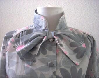 Vintage Pale Gray 60s Shift Dress - Long Sleeve Voile Shift Dress - Flower Power 1960s MOD Shift Dress - Gray & Pink NOS 60s Dress - Medium
