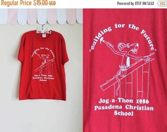 AWAY SALE 20% off vintage 1980s T-shirt - Jog-A-Thon summer camp tee / 10/12yr or Xs