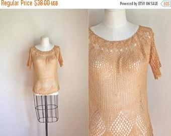 AWAY SALE 20% off vintage 1970s crochet blouse - WHEAT open knit top / S-M
