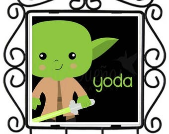 Star Wars Princess Yoda - Ceramic Tile Metal Key Holder (SWPLS) Ready to Ship