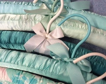15% OFF Set of 5 Aqua blue green seafoam Plush Hangers - Lingerie Hangers