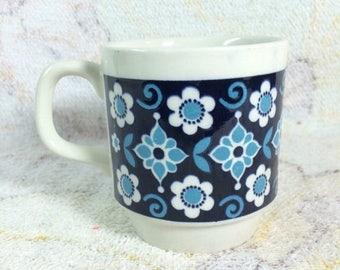 SUMMER SALE Retro Biltons England Mug Blue Floral