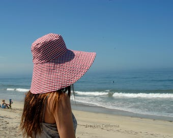 Women Summer Sun Hat Gingham Wide Brimmed Sunhat Hat for Large Heads FOLDABLE Weekend Getaway Spa Vacation Sun Hat by  Freckles California