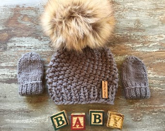 2 Piece - Hand Knitted Baby Hat and Mittens - Knitted Baby Hat with LARGE Faux Fur Pom Pom- Knitted Baby Mittens - Thumless Mittens