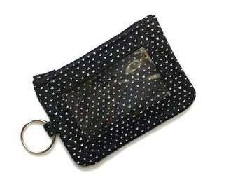 Black ID Keychain Wallet/ID Wallet/Student ID Holder/Card Case/Card Wallet/Coin Case/Change Purse/Zipper Pouch/Keychain Pouch/Hearts