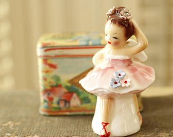 Vintage Ballerina Petite Collectible Figurine, Porcelain Figurine, Made in Japan, Rhinestone Posies, Collectible Ballerina Figurine