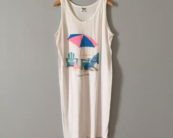 vintage vacation tank dress || beach print dress || white cotton dresss