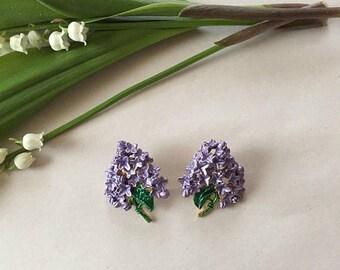 25% OFF SALE... SALE...lilac earrings | puple lilacs | lilac bouquets stud earrings