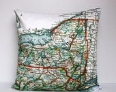 SALE SALE SALE Pillow cover 16x16  map pillow New York State map cushion,organic cotton,cushion cover, 40cm cushion