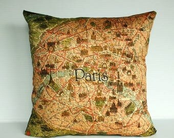 SALE SALE SALE Decorative Pillow covers, map cushion covers Paris Organic cotton Vintage Paris map cushions, 16 inch pillow, 40cm pillows.