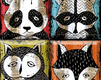 Panda Raccoon Owl Fox Woodland Animal Glass Coaster Set  - 4 or 5 inch square - Upcycled Dictionary art - WilD WorDz Wily Wascals Color One