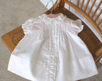 1920s Darling Victorian Baby Girl's Dress. Vintage 20s 30s Pintucked & Embroidery Lace Trim White Cotton Baby Doll Dress