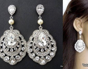 Bridal Earrings, pearl rhinestone earrings, Rhinestone Wedding Earrings, Chandeliers bridal Earrings, swarovski crystal earrings, RHINA