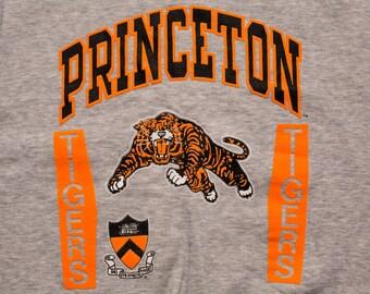 NWT Princeton Tigers Sweatshirt, College University Apparel, Vintage 80s-90s, Long Sleeve Tri-Blend Shirt, NOS New Old Stock w/Tag, Mascot