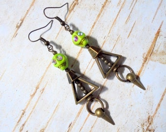 Lime Green and Brass Skull Earrings (3732)