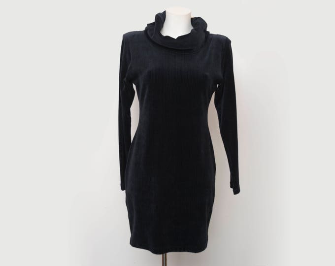Vintage long sleaved loose turtleneck elastic corduroy black dress deadstock
