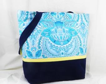Amy Butler, Medium Shoulder Bag, Alchemy Fabric, Lunch Bag, Fountain in Aqua, Blue and Aqua, Handmade Purse, Handmade Tote