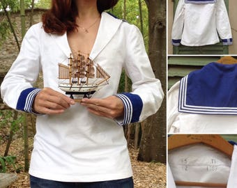 1960s French army SAILOR Navy cotton tunic sz Small